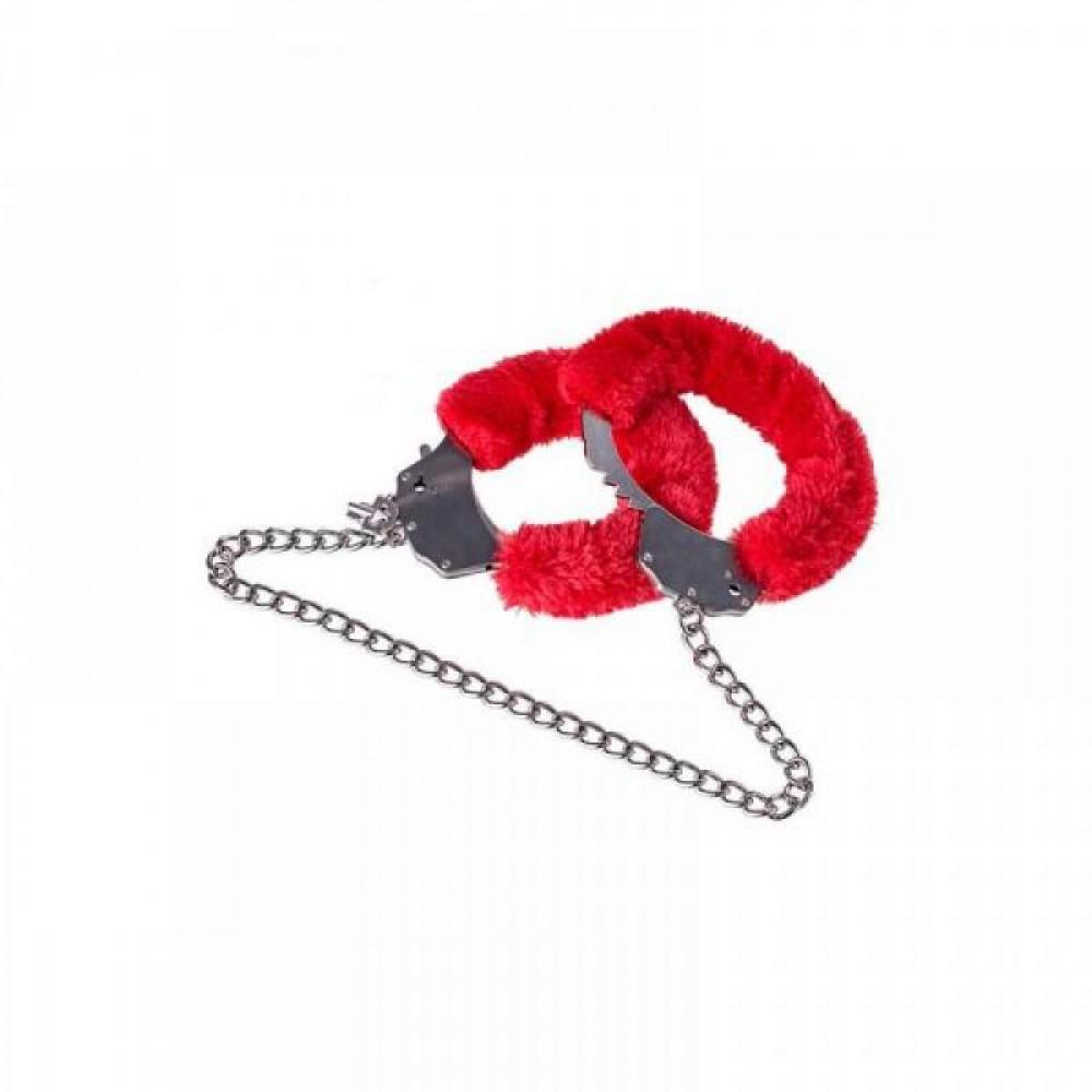 БДСМ наручники - Наручники Metal Handcuff With a Long Chain , Red 5