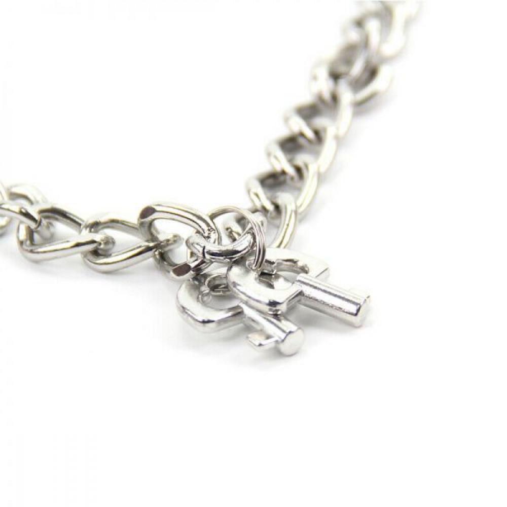 БДСМ наручники - Наручники Metal Handcuff With a Long Chain , Red 2