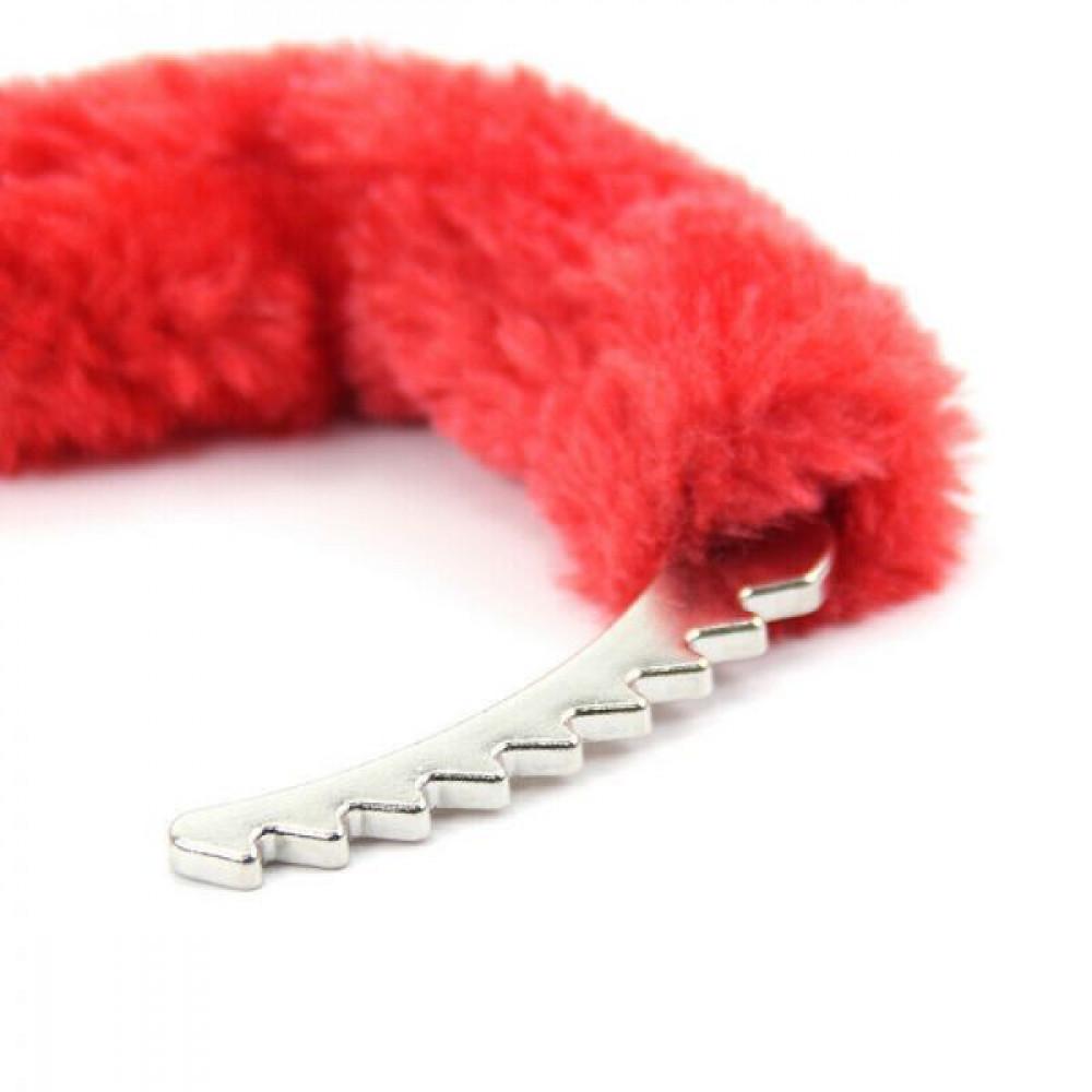 БДСМ наручники - Наручники Metal Handcuff With a Long Chain , Red 1