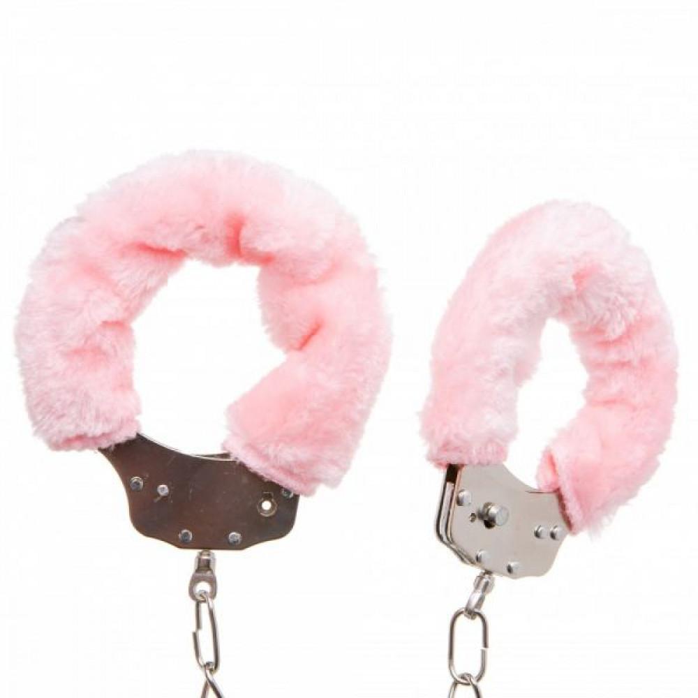 БДСМ наручники - Оковы с мехом Metal, Pink 1