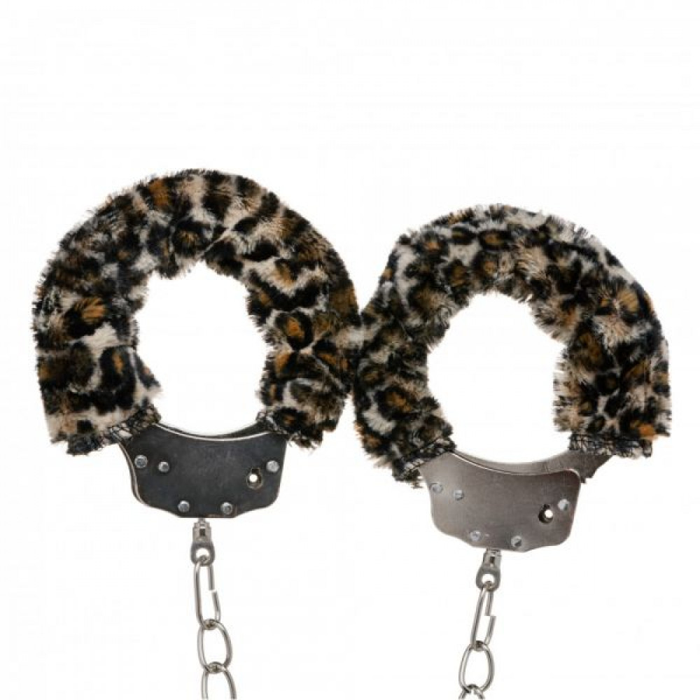 БДСМ наручники - Оковы с мехом Metal, Leopard 1