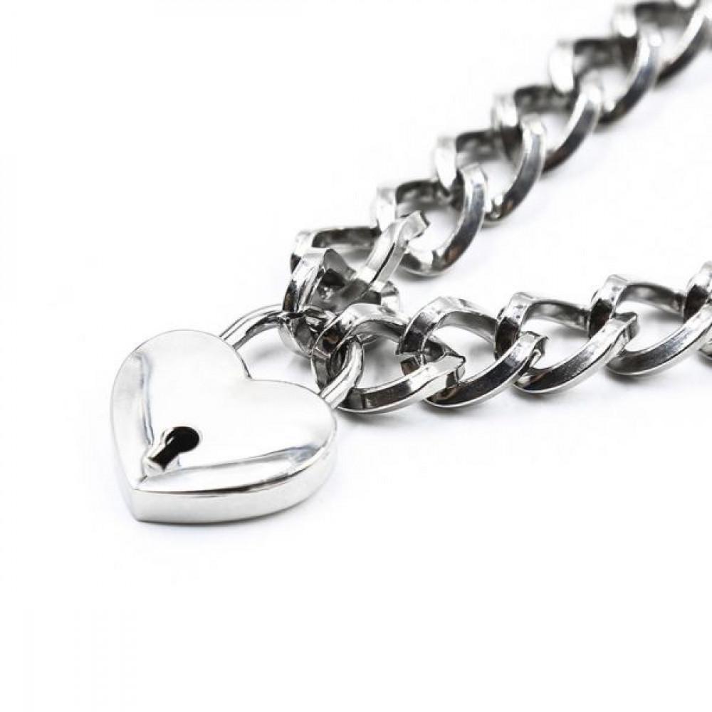 БДСМ ошейники - Ошейник из цепочки Heart, Silver 1