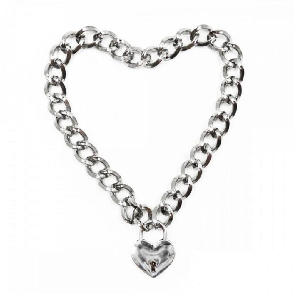 БДСМ ошейники - Ошейник из цепочки Heart, Silver