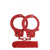 Набор BONDX METAL CUFFS&LOVE ROPE SET-RED