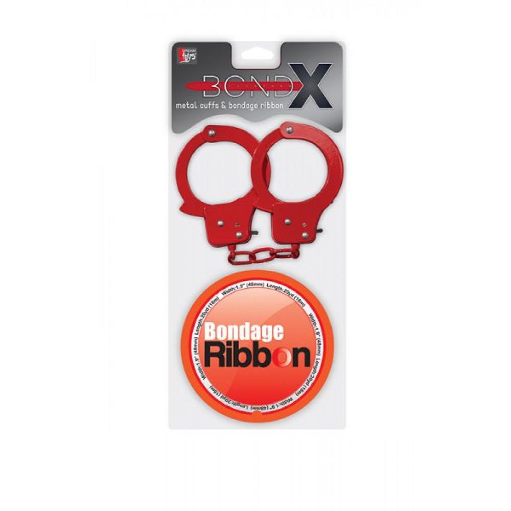 БДСМ наручники - Набор BONDX METAL CUFFS AND RIBBON, RED 1