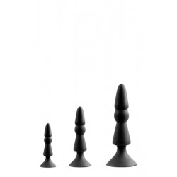 Набор анальных плагов MENZSTUFF 3-PIECE ANAL CONE SET BLACK