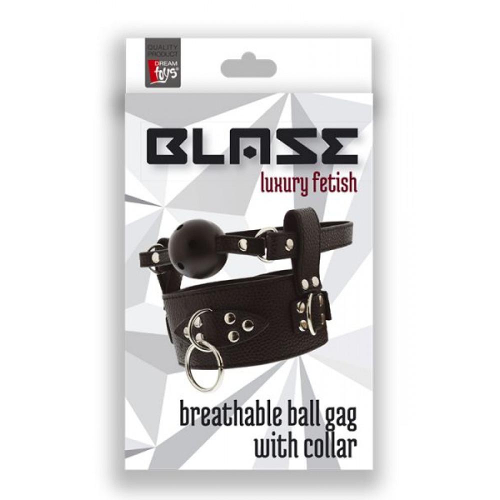 Кляп - Кляп с ошейником  BLAZE BREATHABLE BALL GAG WITH COLLAR 1