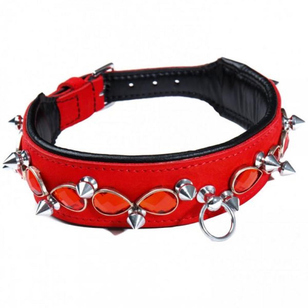 БДСМ ошейники - Ошейник Leather Jewel & Spike, Red