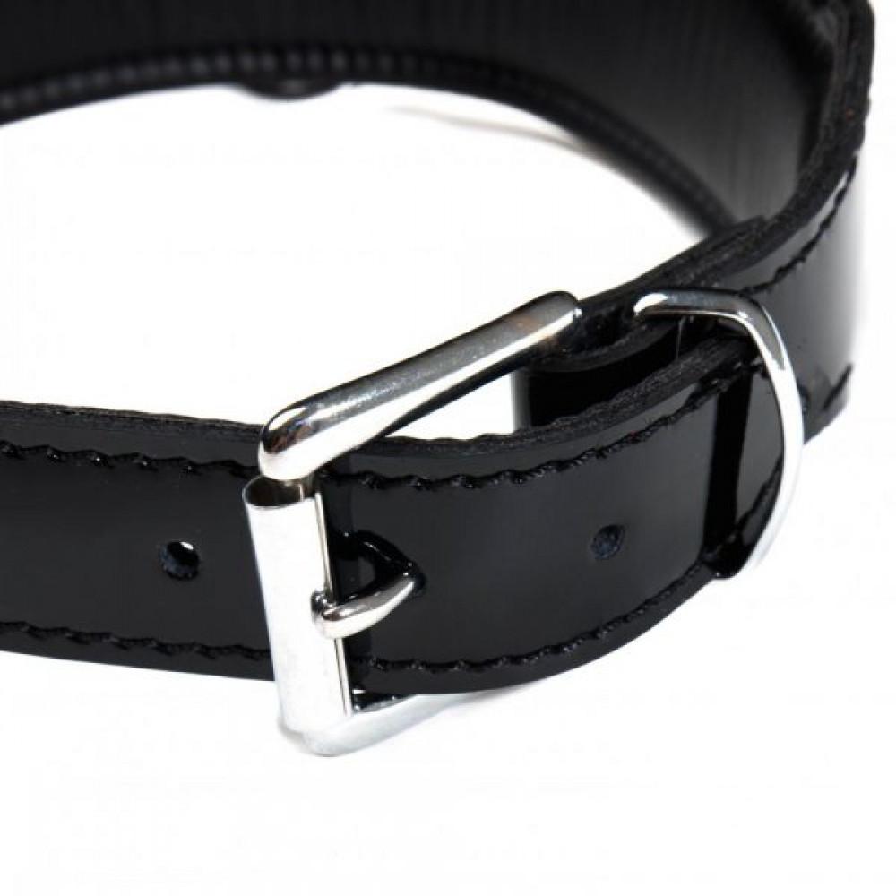 БДСМ ошейники - Ошейник  Leather lackered, Black 1