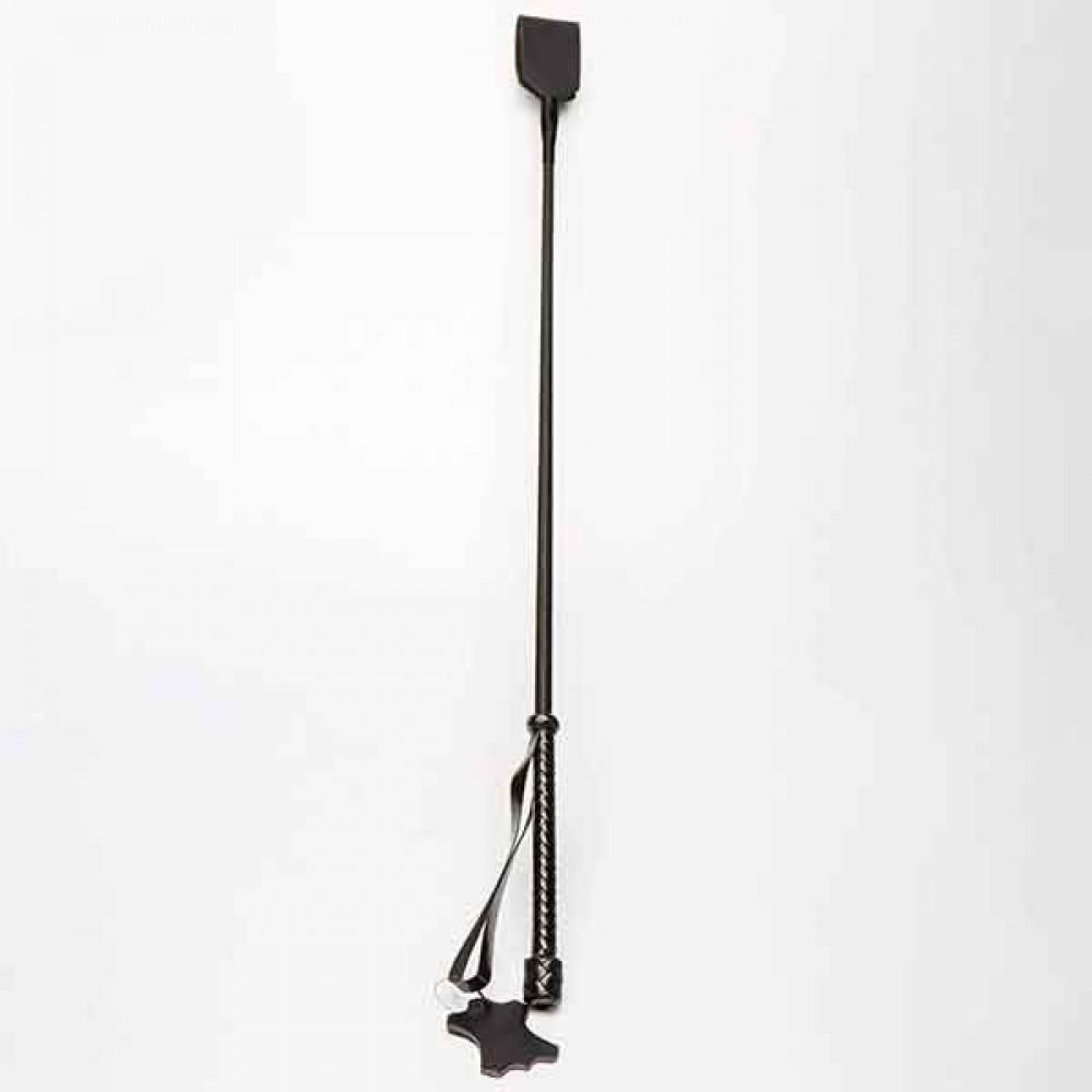 БДСМ плети, шлепалки, метелочки - Стек с хлопушкой Leather, Black