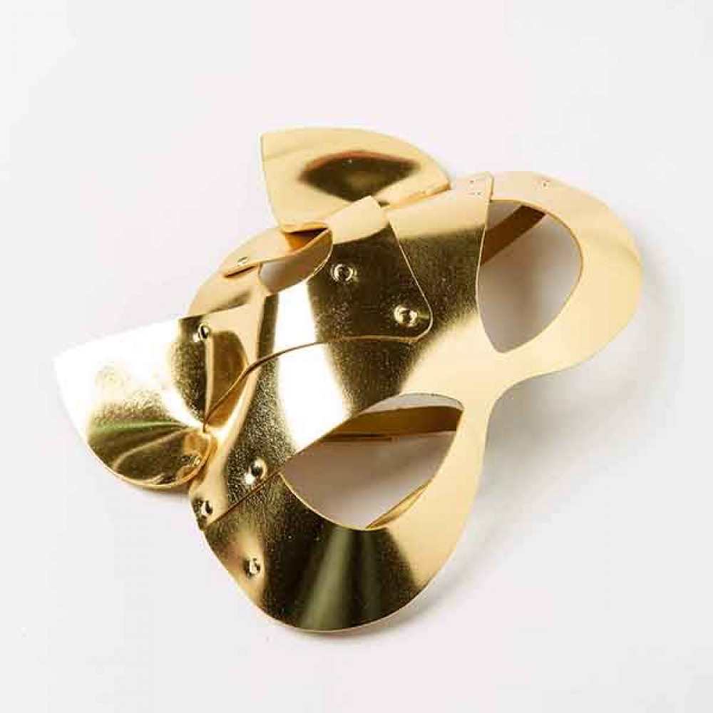 Маска для БДСМ - Маска-Кошка Leather, Gold 4