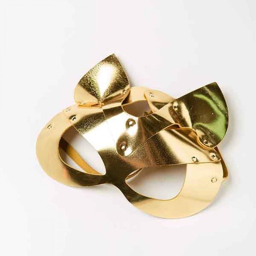 Маска для БДСМ - Маска-Кошка Leather, Gold