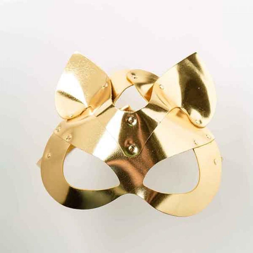 Маска для БДСМ - Маска-Кошка Leather, Gold 3