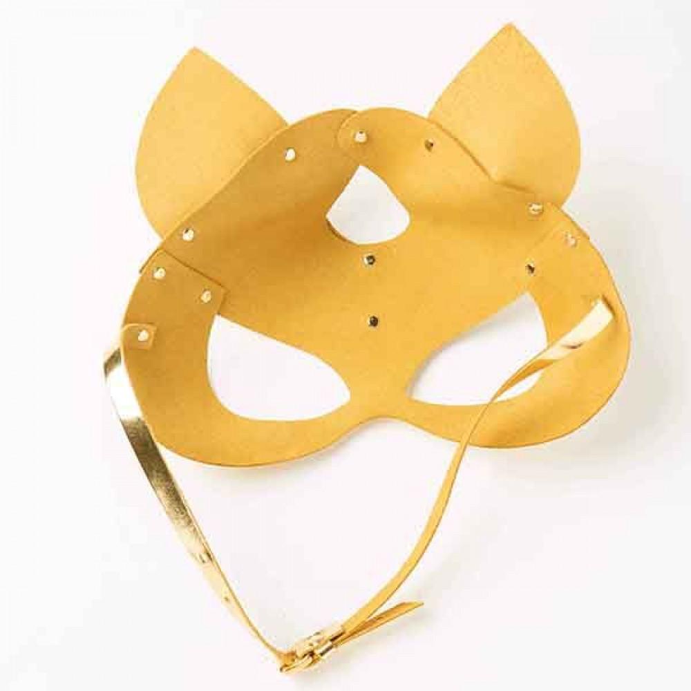 Маска для БДСМ - Маска-Кошка Leather, Gold 2
