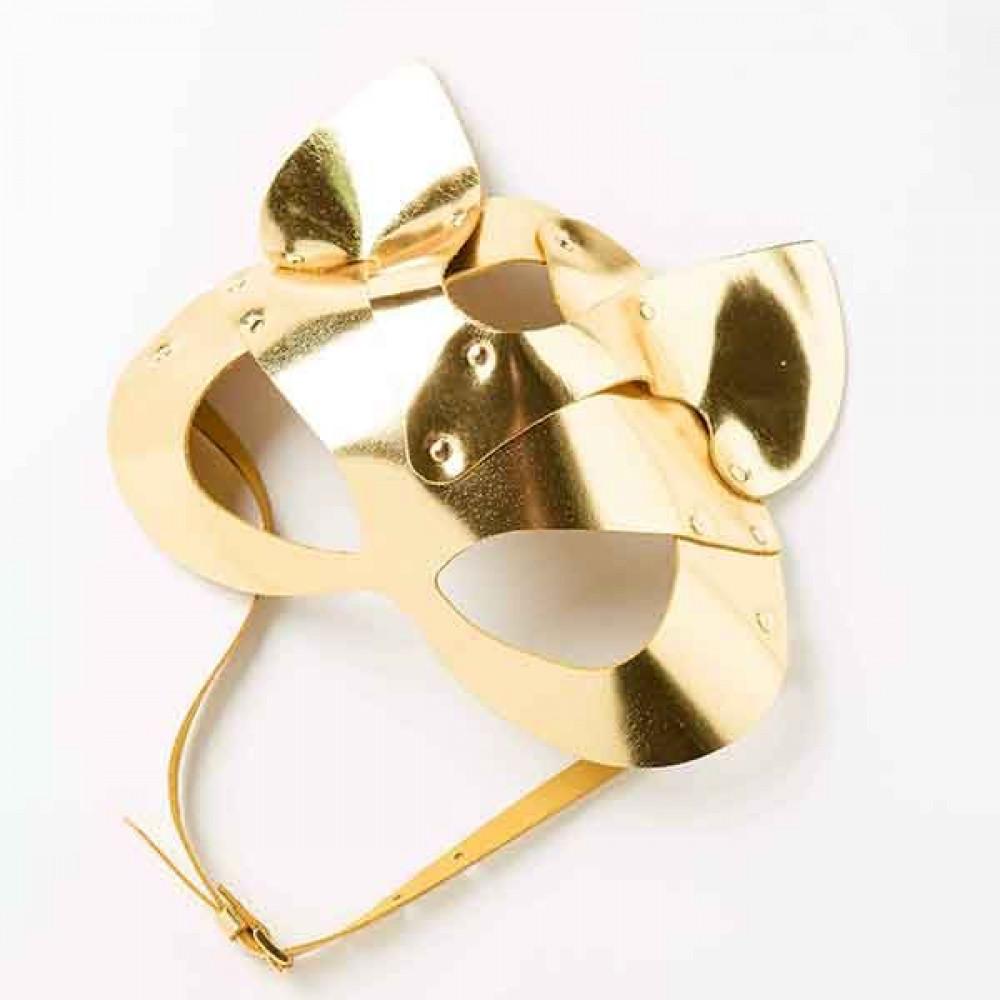 Маска для БДСМ - Маска-Кошка Leather, Gold 1