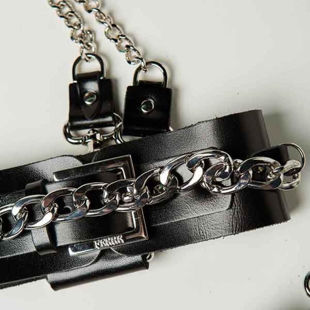 БДСМ наручники - Набор ошейник+наручники Silver With Chain 3
