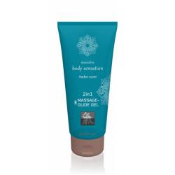 Лубрикант и массажное масло 2 в 1  Massage-& Glide gel 2in1 Amber scent 200 мл