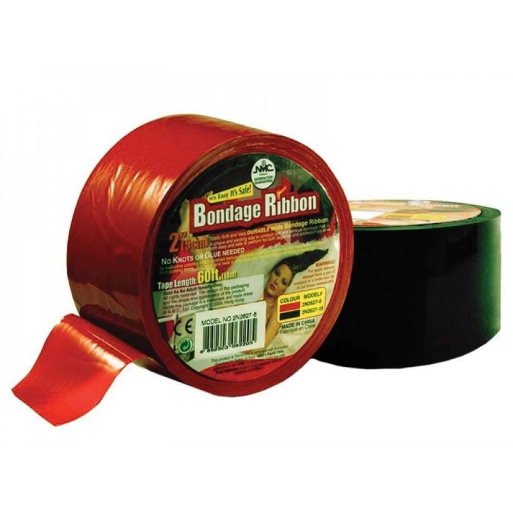 БДСМ аксессуары - Бондажная пленка — клеящаяся Bondage Ribbon: 5cm/18mtr, RED