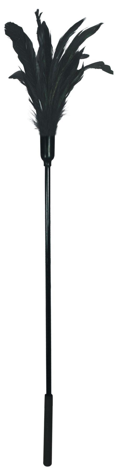 БДСМ метелочки и щекоталочки - Щекоталка с петушиными перьями Sportsheets Starburst Tickler Черная