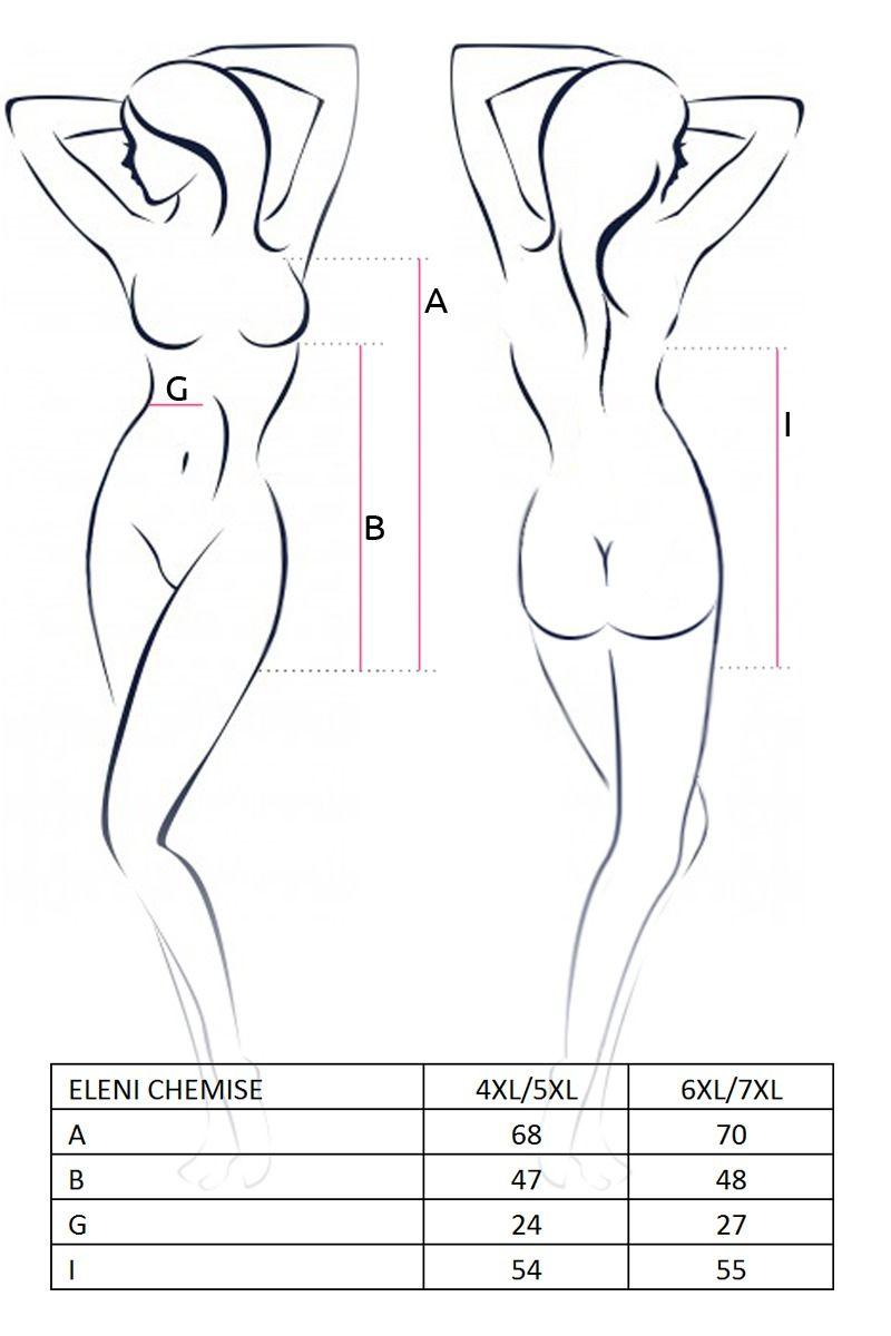 Пеньюары больших размеров - ELENI CHEMISE white 4XL/5XL - Passion 2