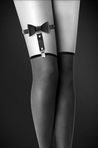 Одежда для БДСМ - Гартер Bijoux Pour Toi - WITH BOW Black
