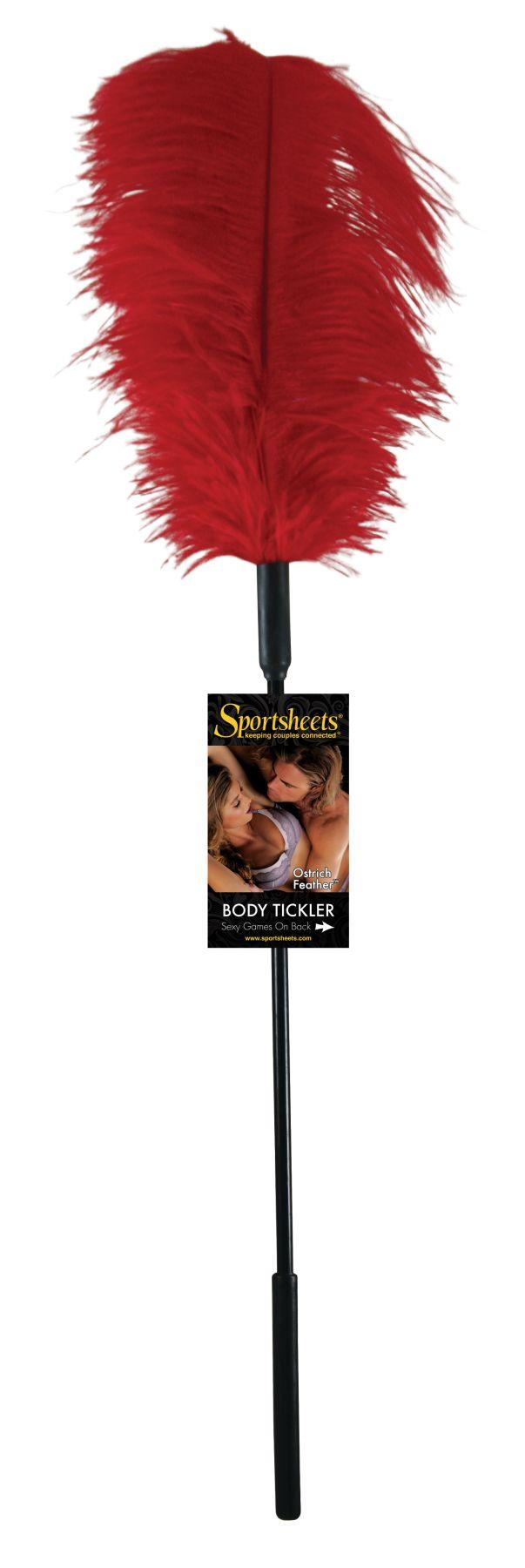 БДСМ метелочки и щекоталочки - Щекоталка с пером страуса Sportsheets Ostrich Tickler Красная 1