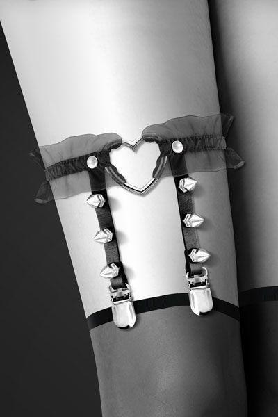 Одежда для БДСМ - Гартер Bijoux Pour Toi - WITH HEART AND SPIKES Black 1