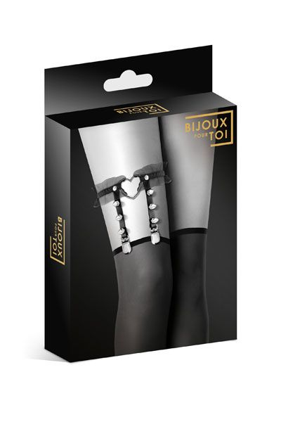 Одежда для БДСМ - Гартер Bijoux Pour Toi - WITH HEART AND SPIKES Black 2