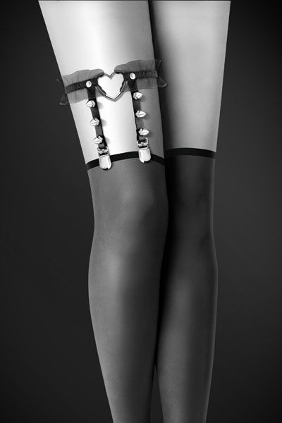 Одежда для БДСМ - Гартер Bijoux Pour Toi - WITH HEART AND SPIKES Black