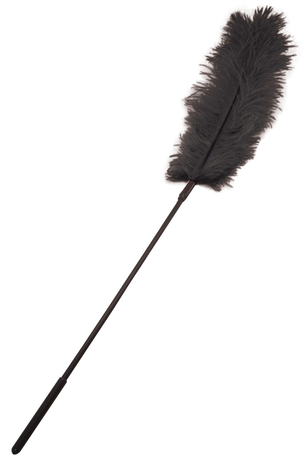 БДСМ метелочки и щекоталочки - Щекоталка с пером страуса Sportsheets Ostrich Tickler Черная