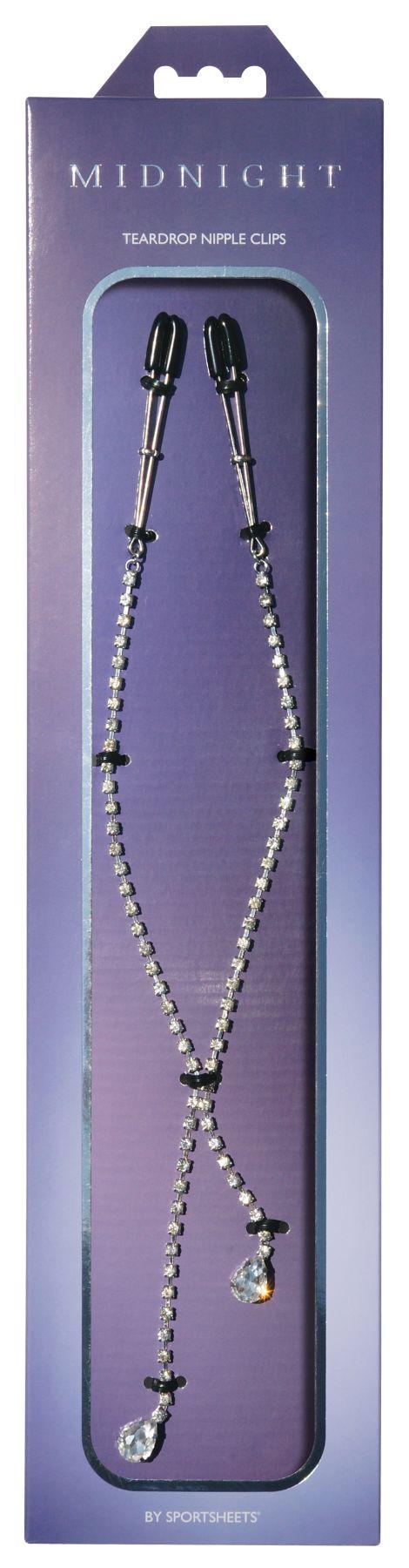 БДСМ аксессуары - Украшение цепочка с зажимами для сосков Sportsheets Midnight Teardrop Nipple Clips 1