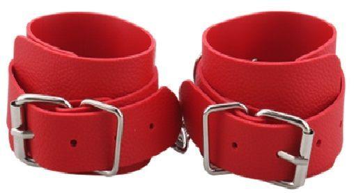 БДСМ наручники - Наручники BDSM-NEW PVC Handcuffs With Chain, red