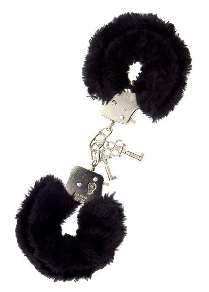 БДСМ наручники - Наручники METAL HANDCUFF WITH PLUSH, BLACK
